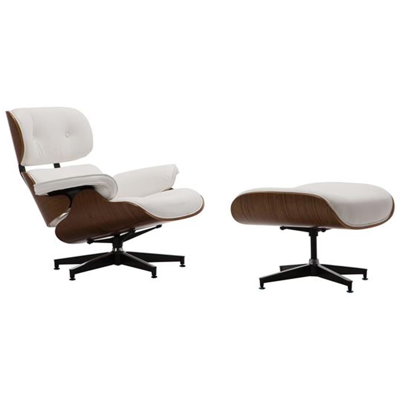 Πολυθρόνα με Σκαμπώ Relax Pu Aσπρο 87x83x89cm
