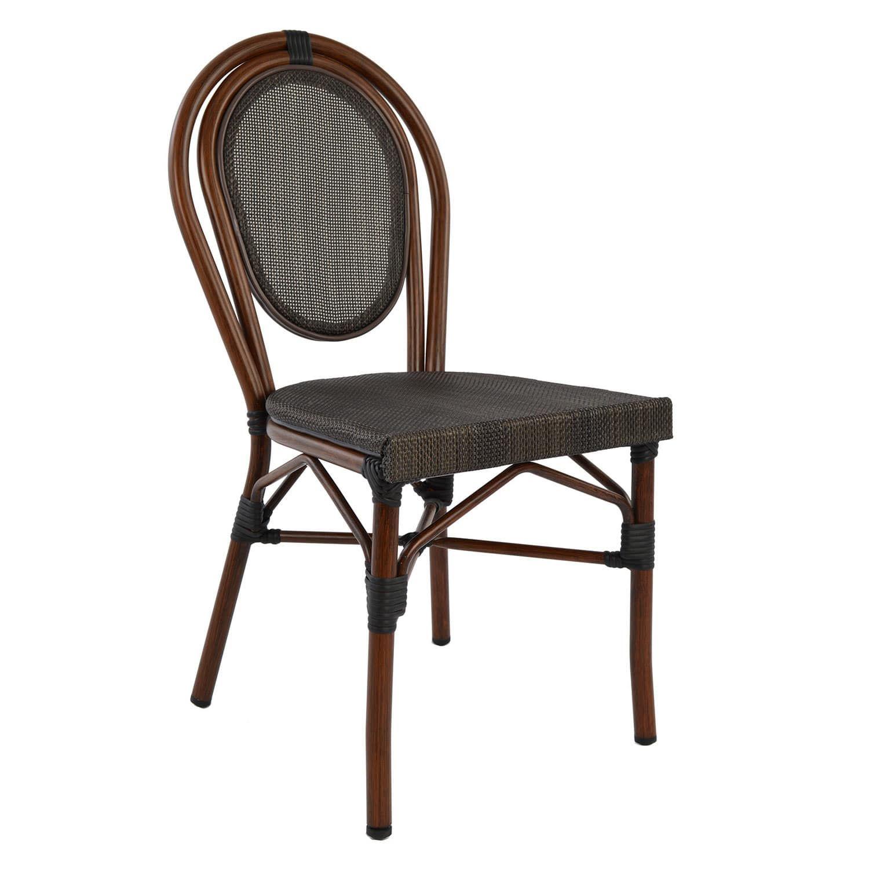 Καρέκλα Αλουμινίου Hm5026 Bamboo Look Καφέ Με Textline