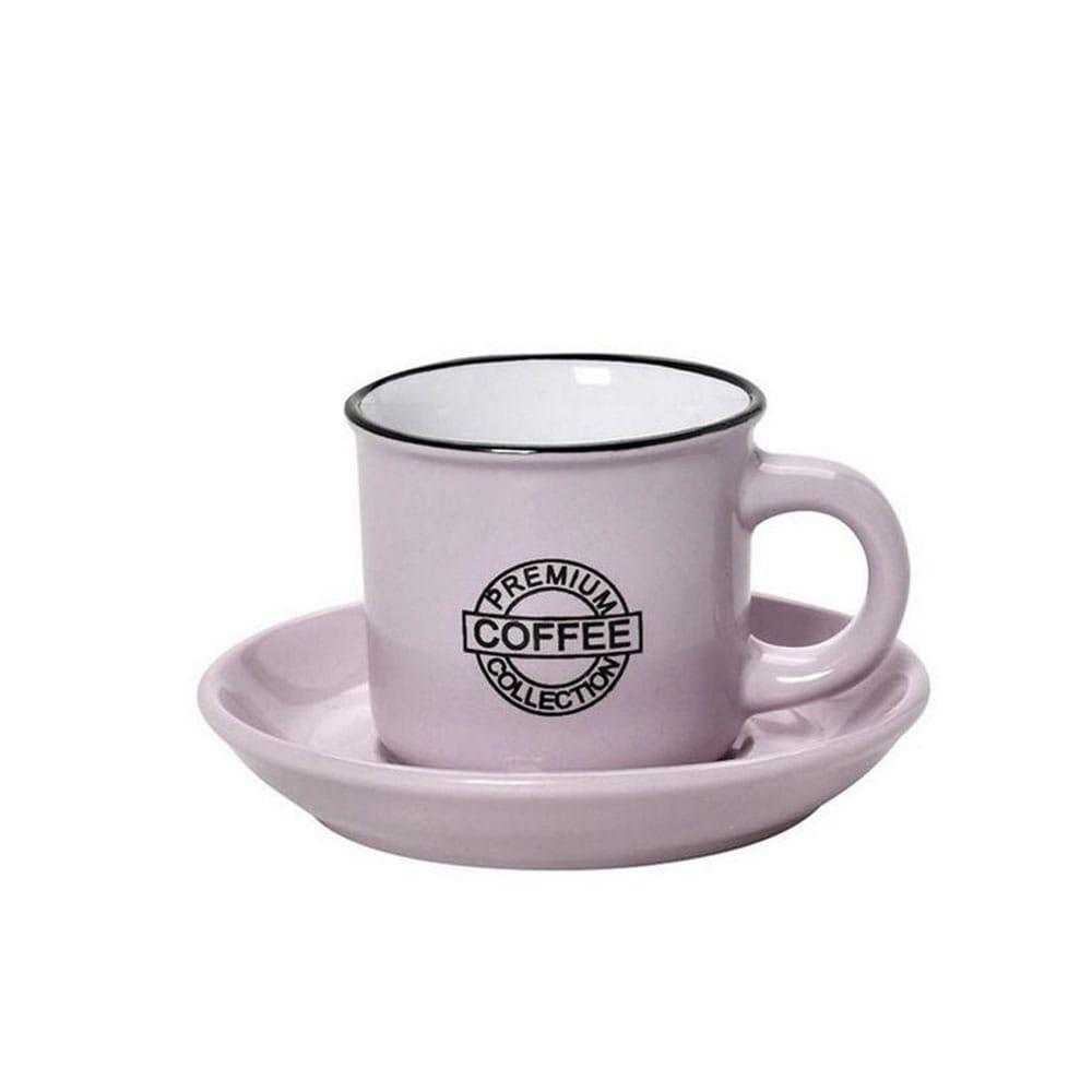 Φλυτζάνι & Πιάτο Coffee Espresso 90mlHun305K12 Φ6,3cm Pink Espiel