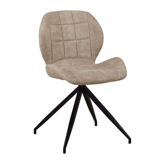 Καρέκλα Μεταλλική Black Norma ΕΜ792,3 Με Υφασμα Suede Beige Σετ 2τμχ