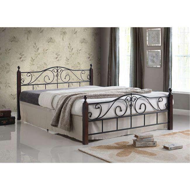 Κρεβάτι Adel Με Μέταλλο Και Ξύλο Ε8206 Black - Καρυδί 160x200cm