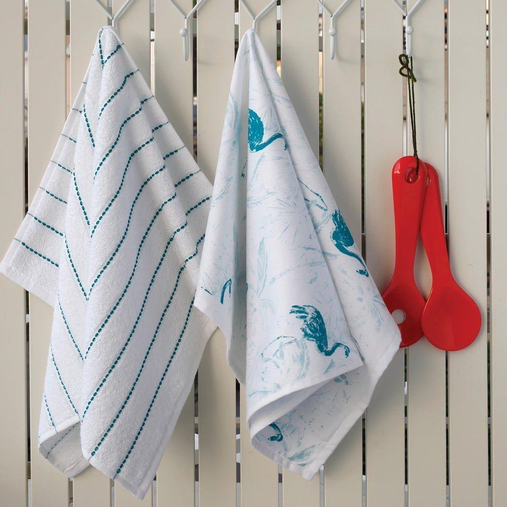 Πετσέτες Κουζίνας Σετ 2τμχ Flamingo White-Blue Melinen
