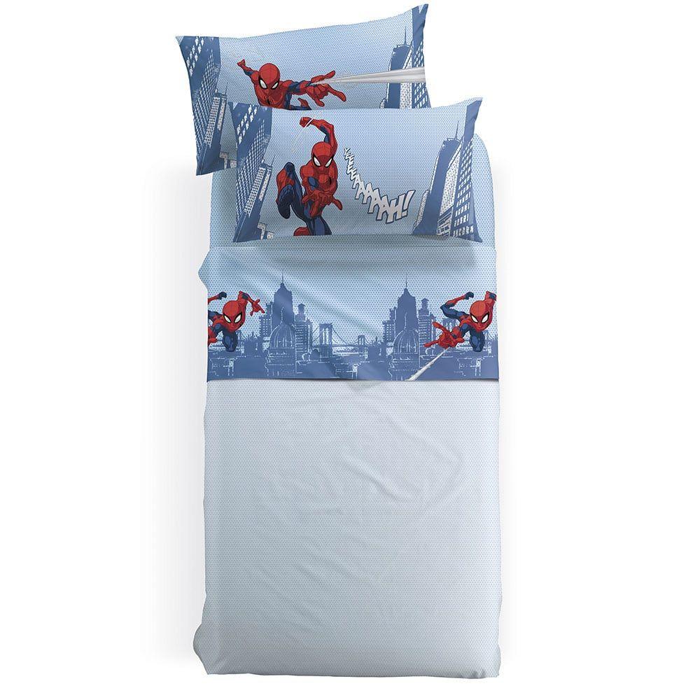 Σεντόνια Παιδικά Με Λάστιχο Disney Spiderman City Σετ 3τμχ Blue-Red Palamaiki