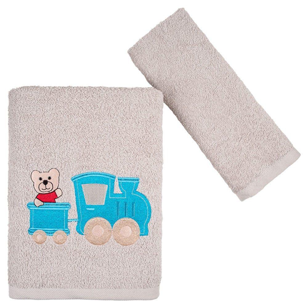 Πετσέτες Παιδικές Bear & Train Σετ 2τμχ Beige Astron