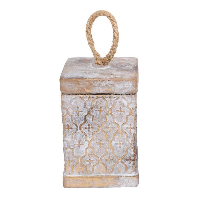 Βάζο Διακοσμητικό Με Καπάκι 19077 12.2x12.2x18.5cm Gold 1-0040-00-011 Etiquette