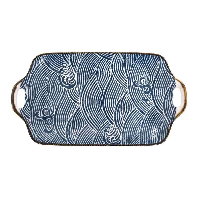 """Πιατέλα Διακοσμητική """"Abstract"""" 7997-1 29x16x5cm White-Blue 1-373-00-339 Etiquette"""
