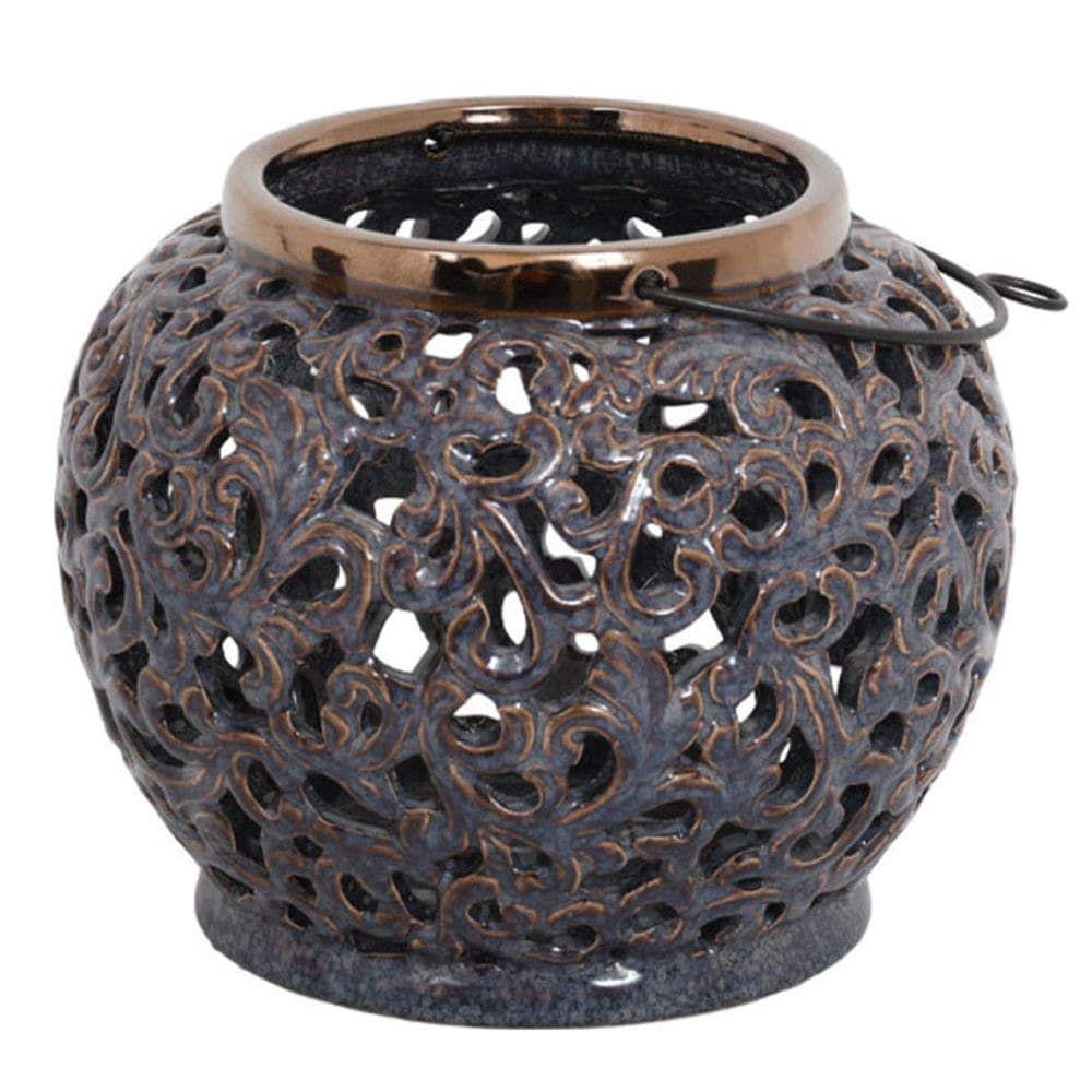 Φανάρι Με Χερούλι 15938 1-028-121-159 23x23x20cm Purple-Bronze Etiquette