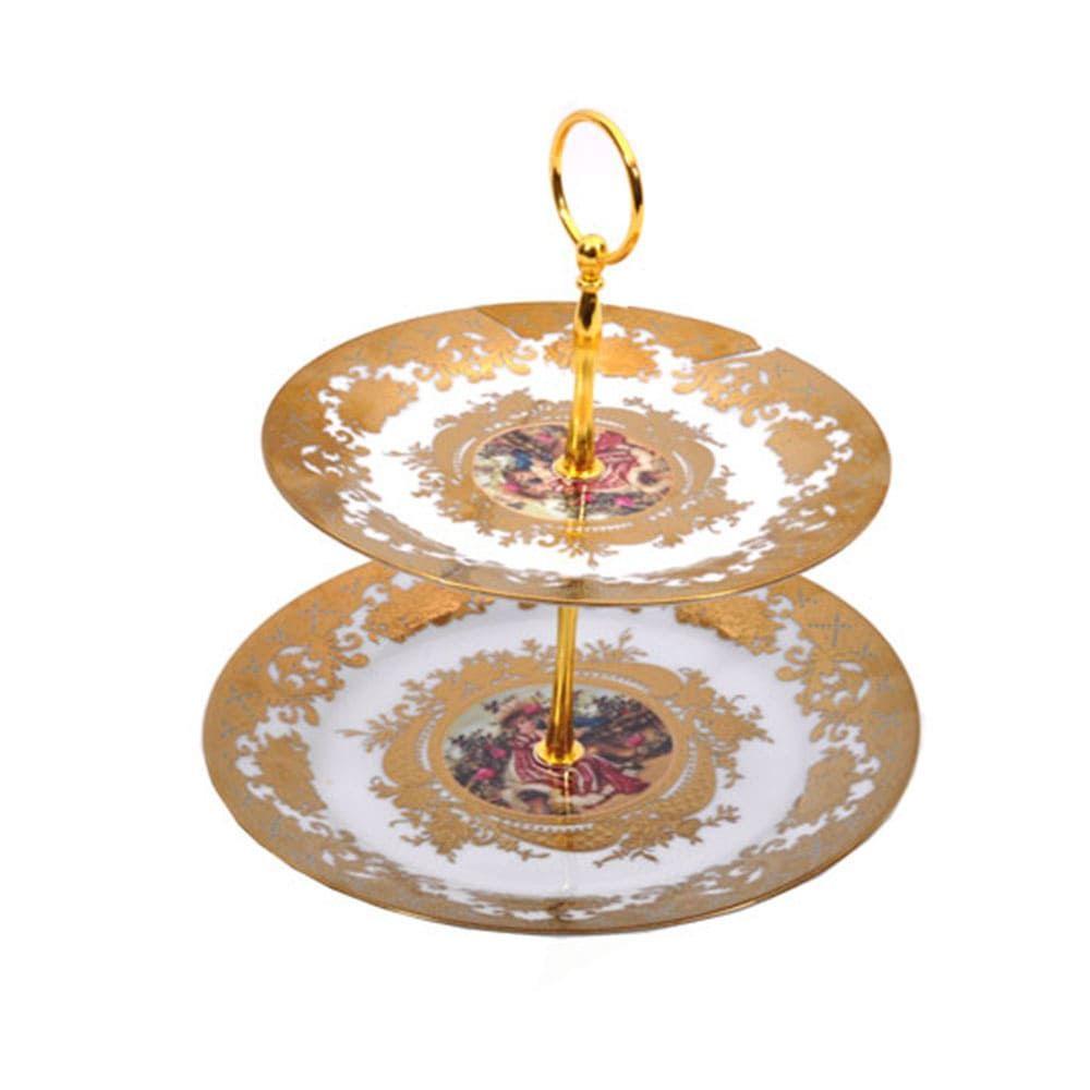 Ορντερβιέρα Διώροφη Πορσελάνινη Χρυσή Gold