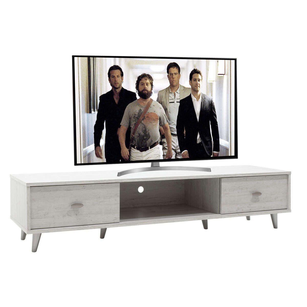 Έπιπλο Τηλεόρασης Firenze Γκρι-Λευκό 150,5X41X33Cm 049-000012