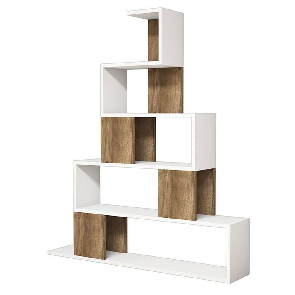 Βιβλιοθήκη Pyramid 055-000129 120x22x131 Καρυδί-Λευκό