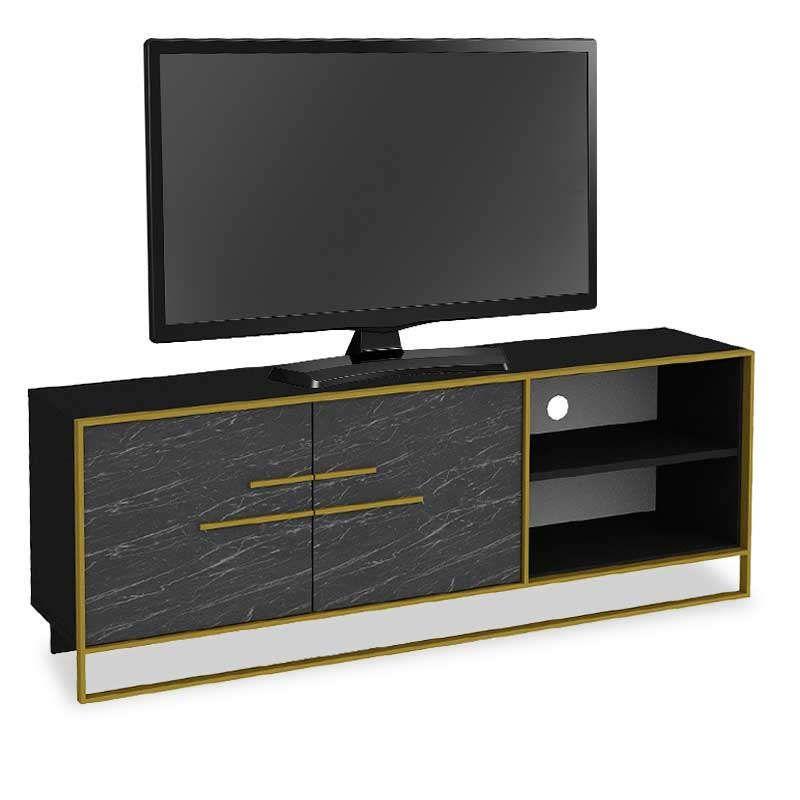 Έπιπλο Τηλεόρασης PWF-0298 071-000863 160x38,5x56,5cm Black-Gold