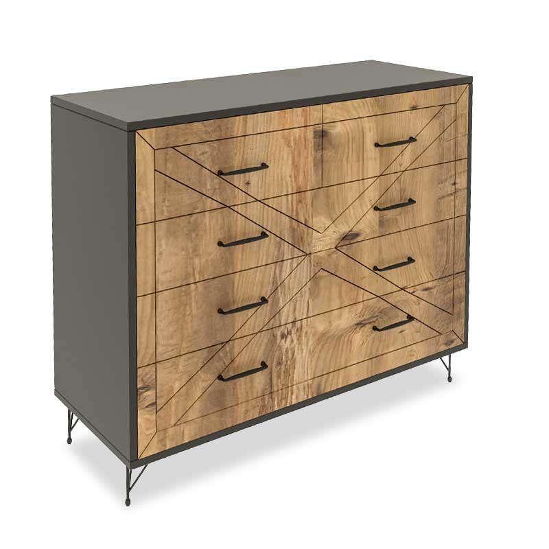 Συρταριέρα PWF-0279 Με 4 Συρτάρια 071-000896 80x40x100cm Anthracite - Pine