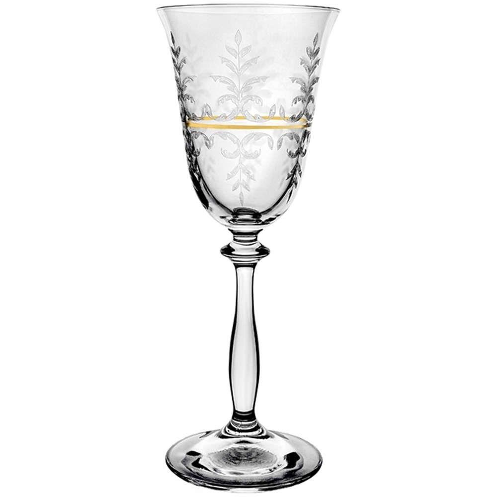 Ποτήρι Κολωνάτο Κρασιού Angela CLX406029409 185ml Clear-Gold Από Κρύσταλλο Βοημίας