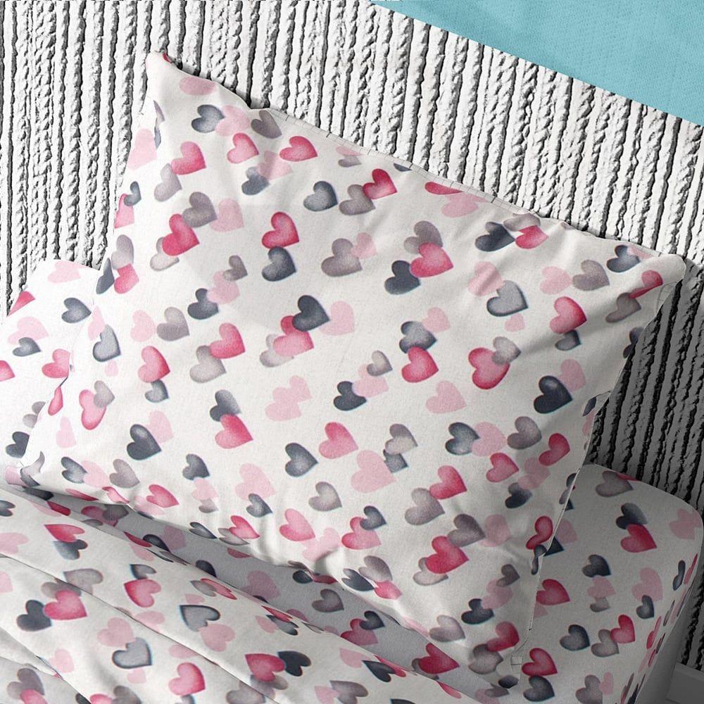 Μαξιλαροθήκη Παιδική Hearts 12 Grey-Pink DimCol