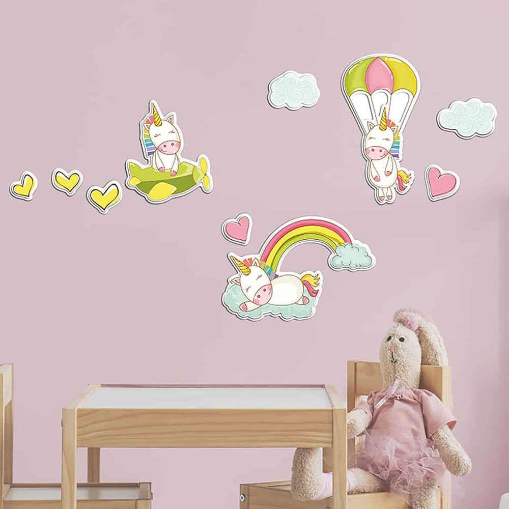 Αυτοκόλλητα Τοίχου Αφρώδη Fantasy Unicorns 18009 125X140Cm Ango