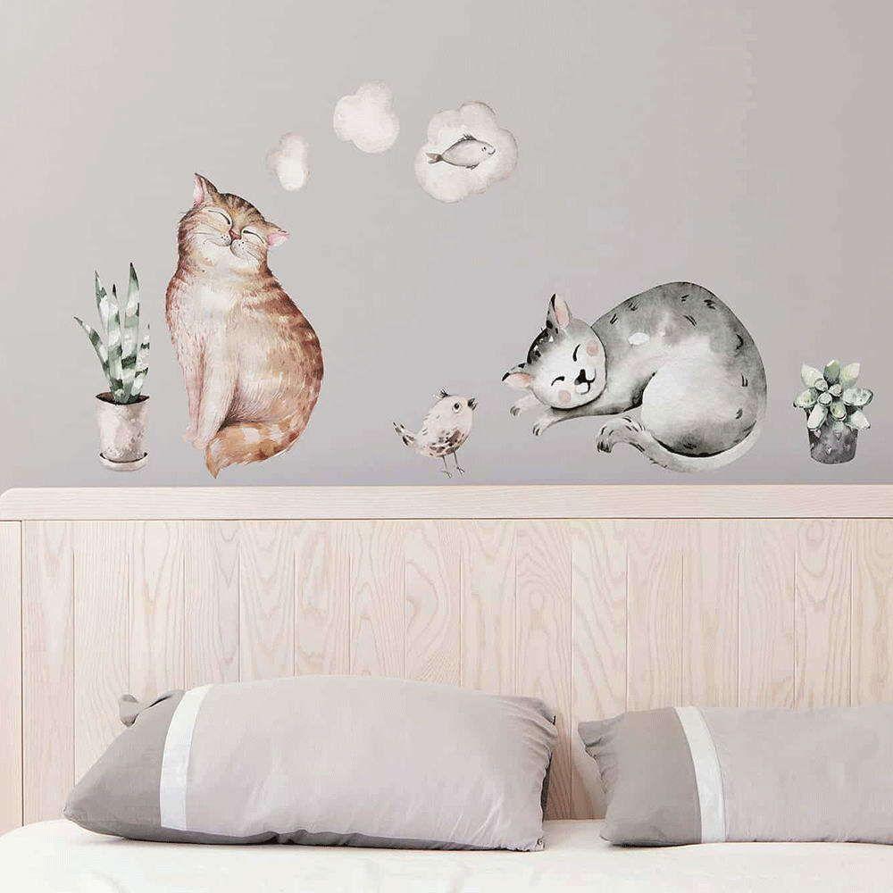 Αυτοκόλλητα Τοίχου Βινυλίου Watercolour Cats 54116 72x58cm Multi Ango