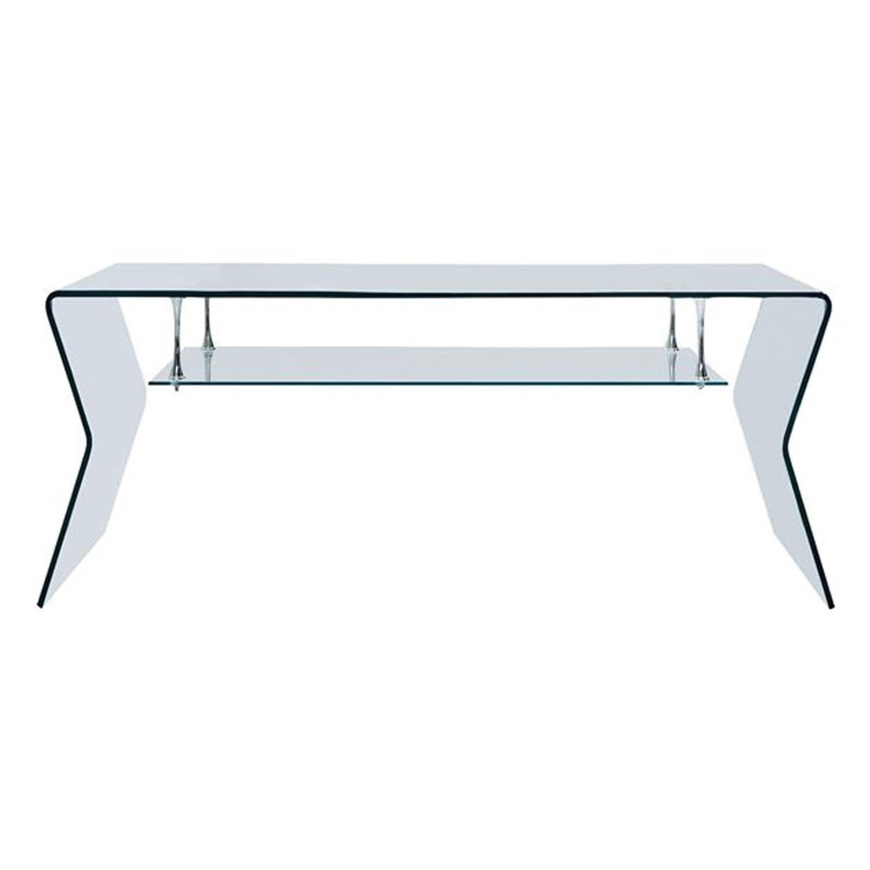 Τραπέζι Σαλονιού Γυάλινο Με Ράφι HM8098 120Χ60Χ43Υ εκ.