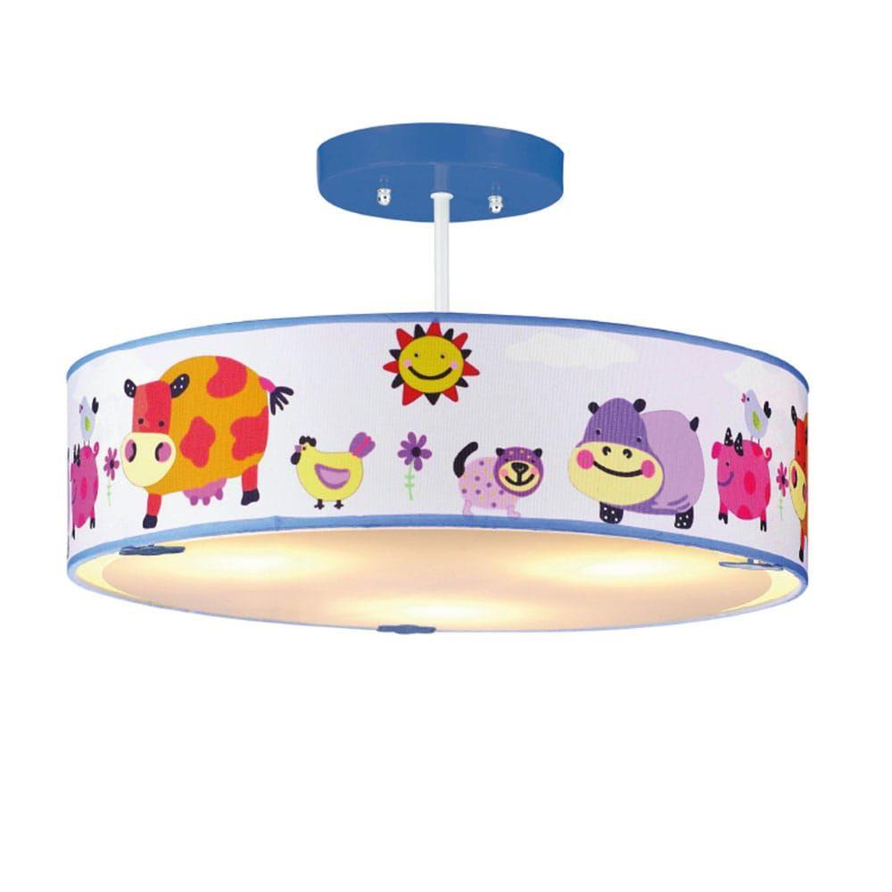 Φωτιστικό Οροφής Παιδικό Ζώα Φάρμας 3ΧE14 Φ40cm Multi Aca