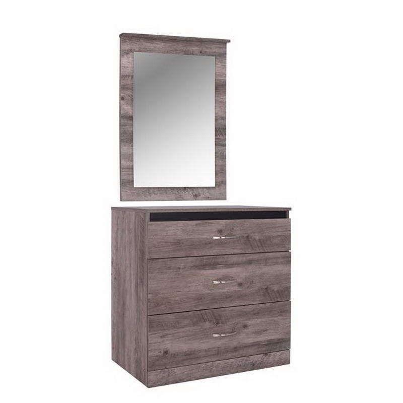 Συρταριέρα Με Καθρέπτη Jacintha HM10287 Σταχτί 80x45.5x81.5cm