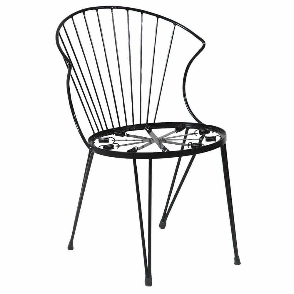 Καρέκλα Στοιβαζόμενη Γαλβανισμένη 155501-Α 51x59x77cm Black