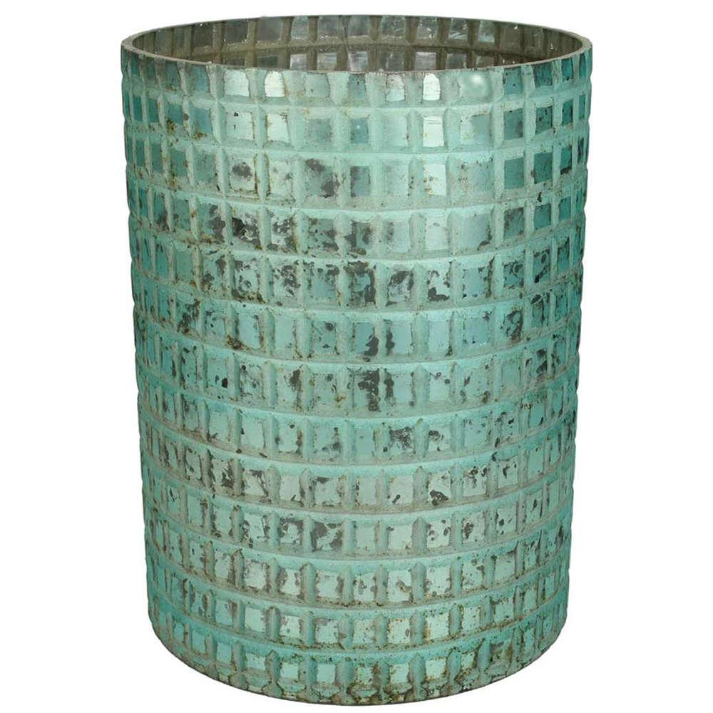 Βάζο Διακοσμητικό Γυάλινο 06-2977 Φ15x20Ycm Antique Petrol