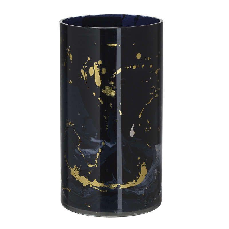 Κηροπήγιο - Ρεσώ 3-70-231-0058 Γυάλινο Black-Gold 12Χ23 Inart