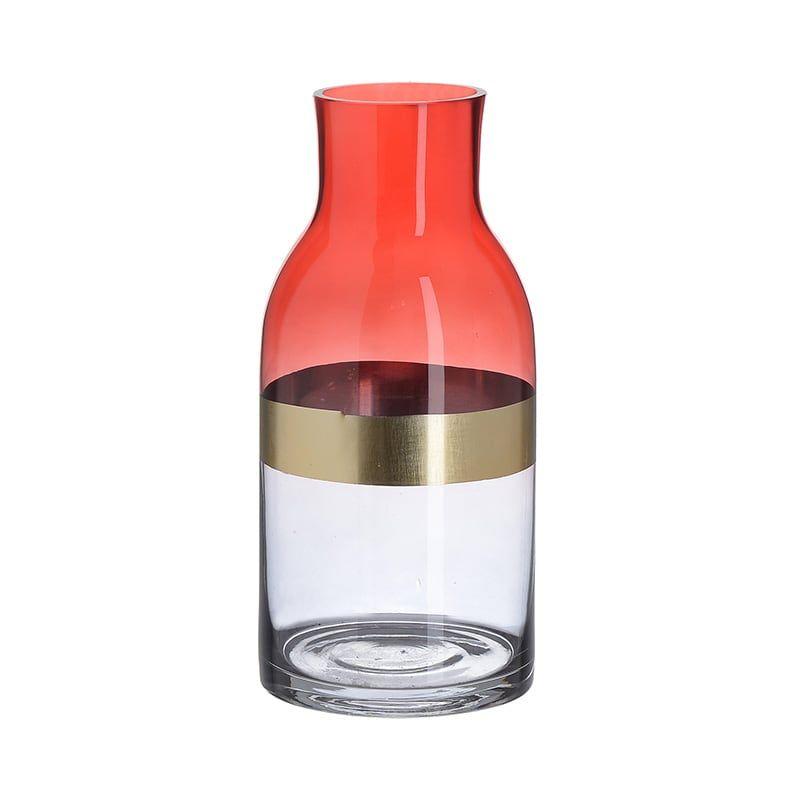 Βάζο Γυάλινο 3-70-179-0004 Red-Gold Δ12Χ26 Inart