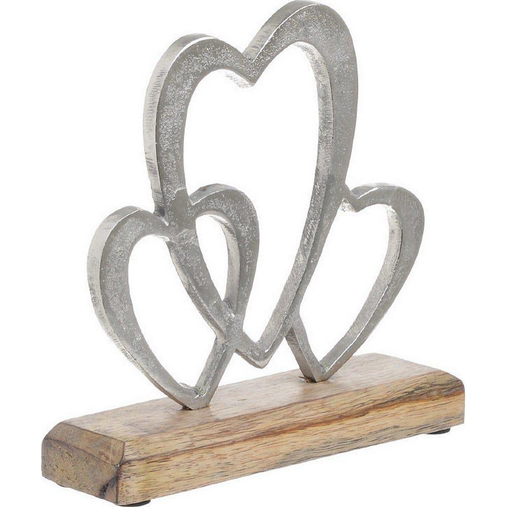 Διακοσμητικό Επιτραπέζιο 3-70-357-0084 Καρδιές Silver 18X5X18 Inart