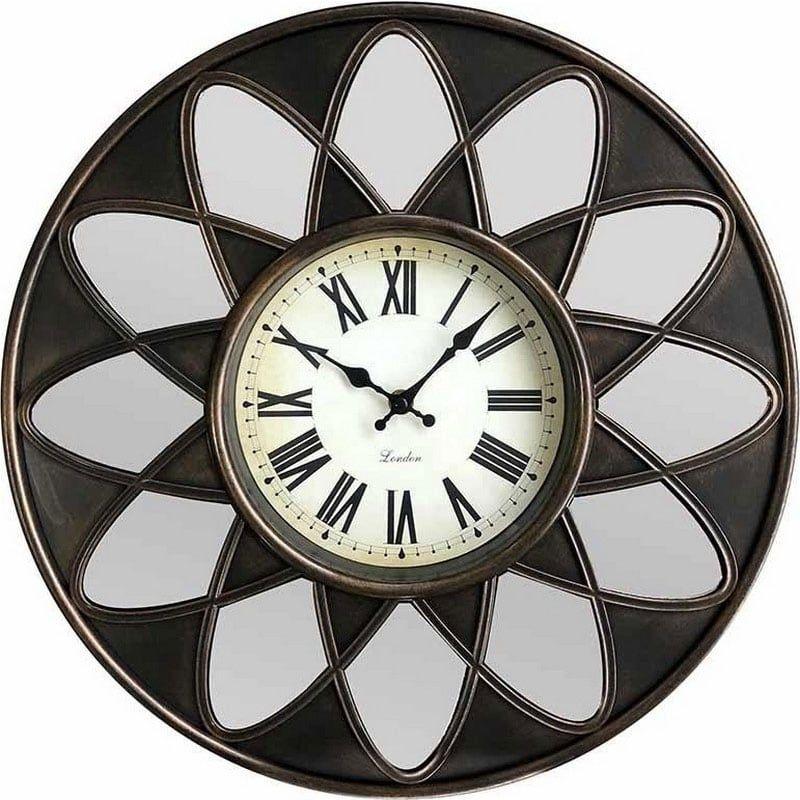 Ρολόι Τοίχου Με Καθρέπτη Δ40 Gold-Black 3-20-864-0115 Inart