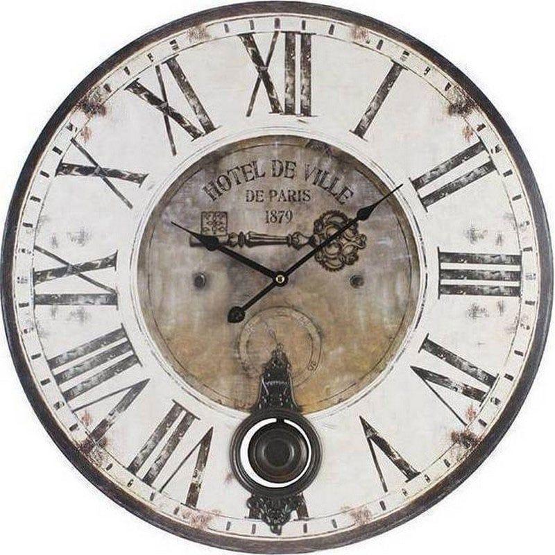 Ρολόι Τοίχου Hotel De Ville Εκκρεμές (Sm) Δ58 Ecru 3-20-773-0110 Inart