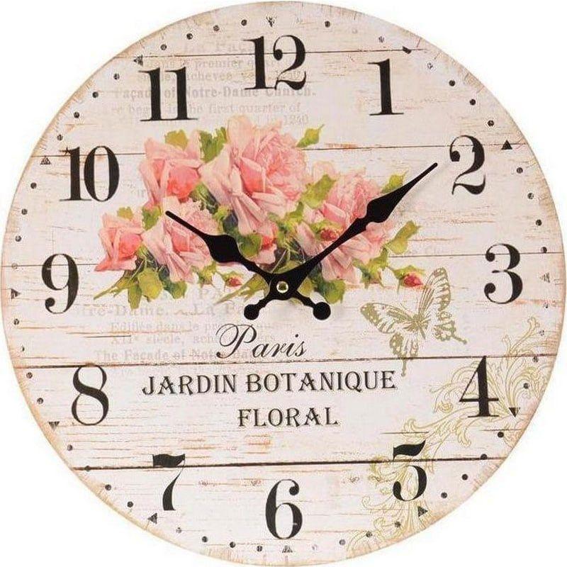 Ρολόι Τοίχου Τριαντάφυλλα Δ 34(3) Ecru 3-20-773-0076 Inart