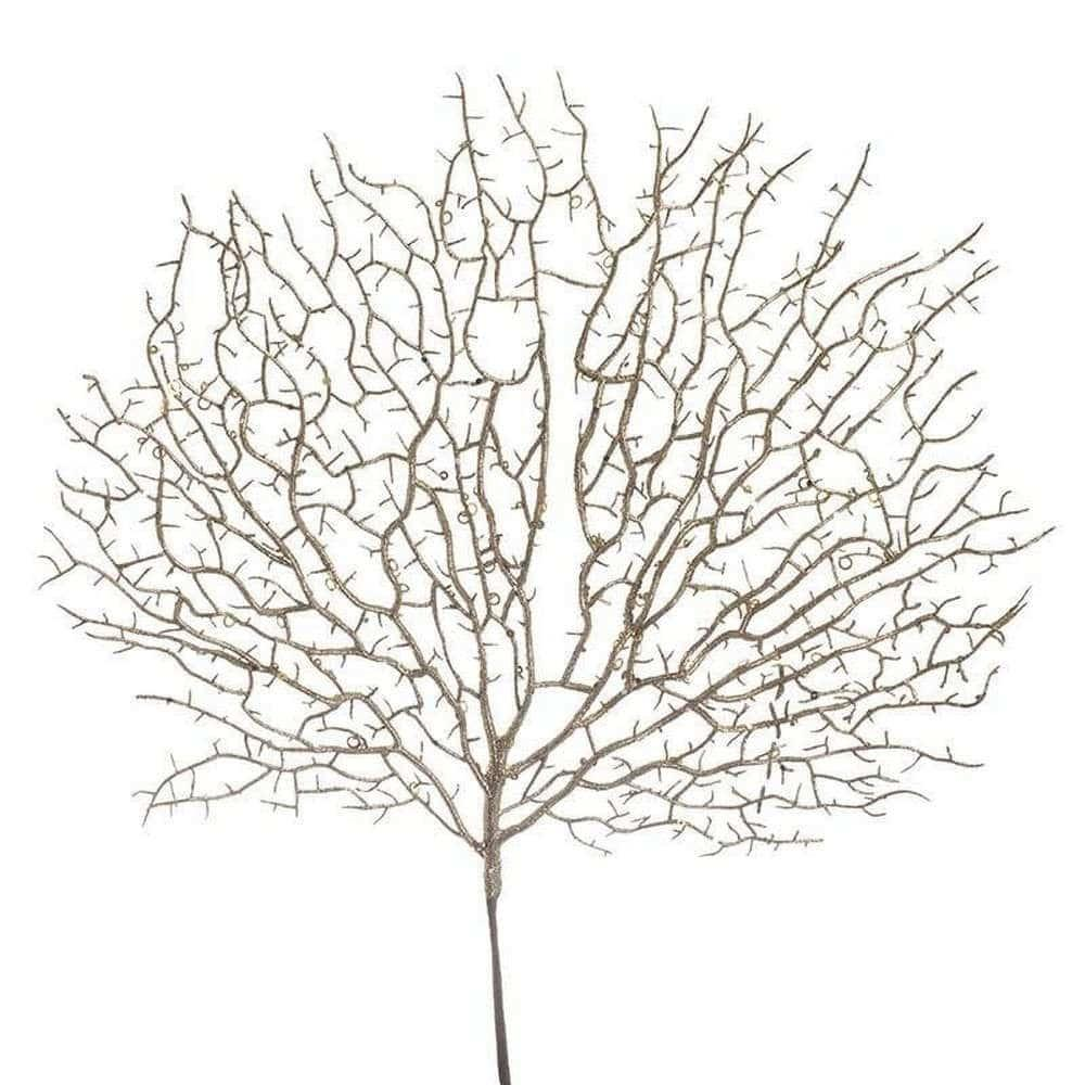 Διακοσμητικό Κλαδί-Φυτό Με Γκλίτερ 3-85-084-0082 Gold Inart