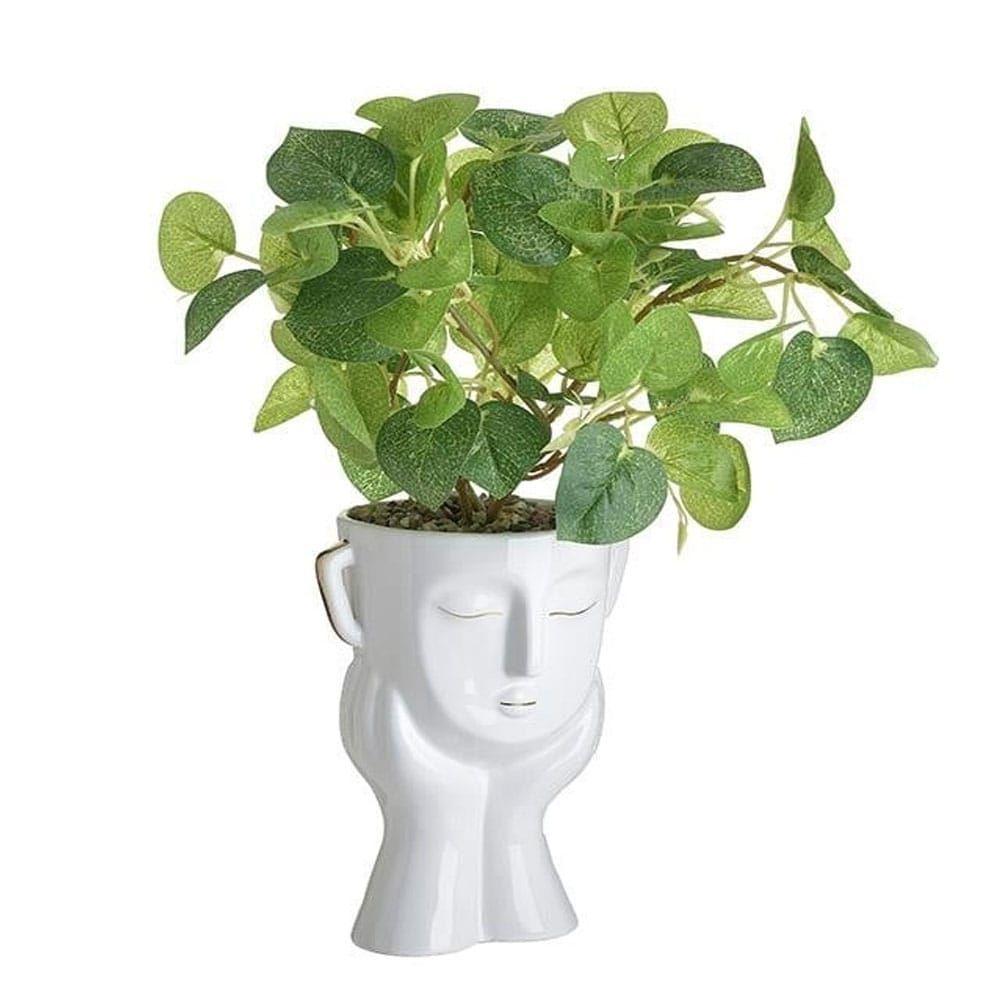 Βάζο 3-70-524-0035 Πρόσωπο Με Φυτό 12Χ14Χ20 White Inart