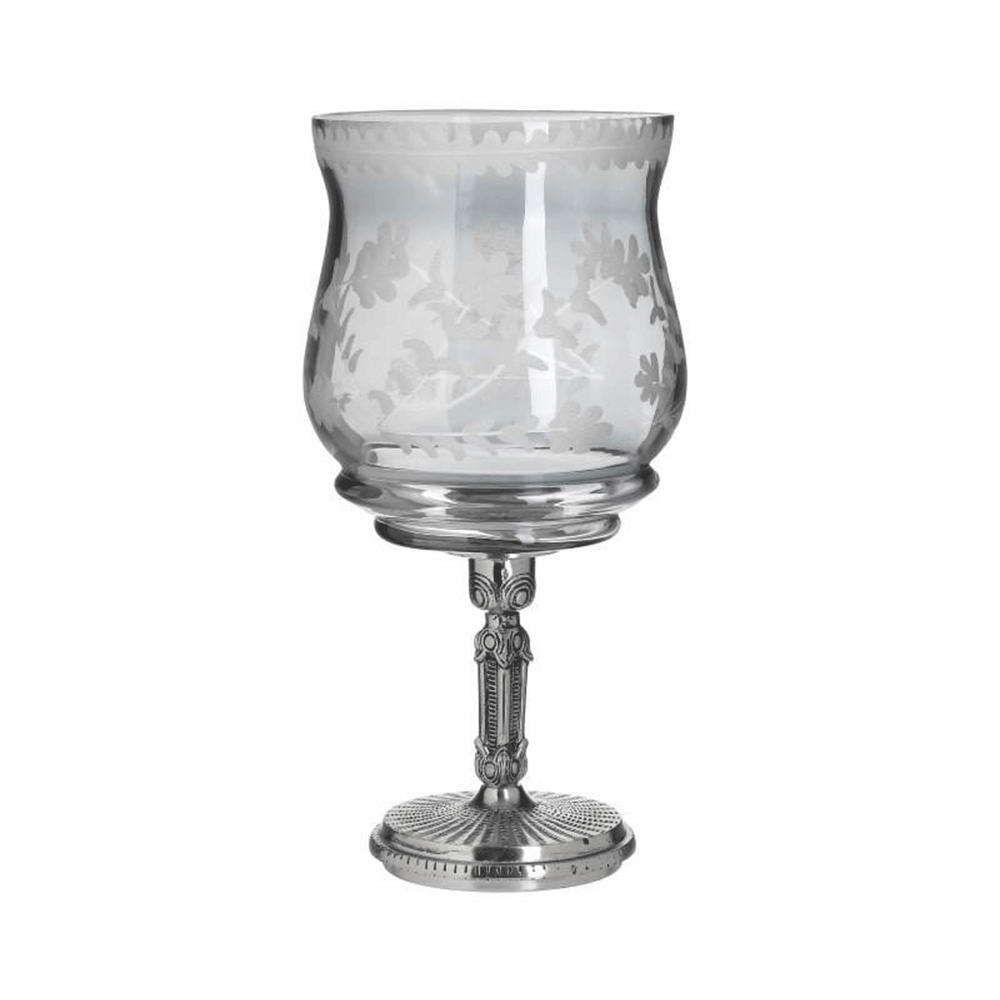 Κηροπήγιο Με Μεταλλική Λεπτομέρεια 3-70-085-0203 Φ17x35cm Silver-Clear Inart