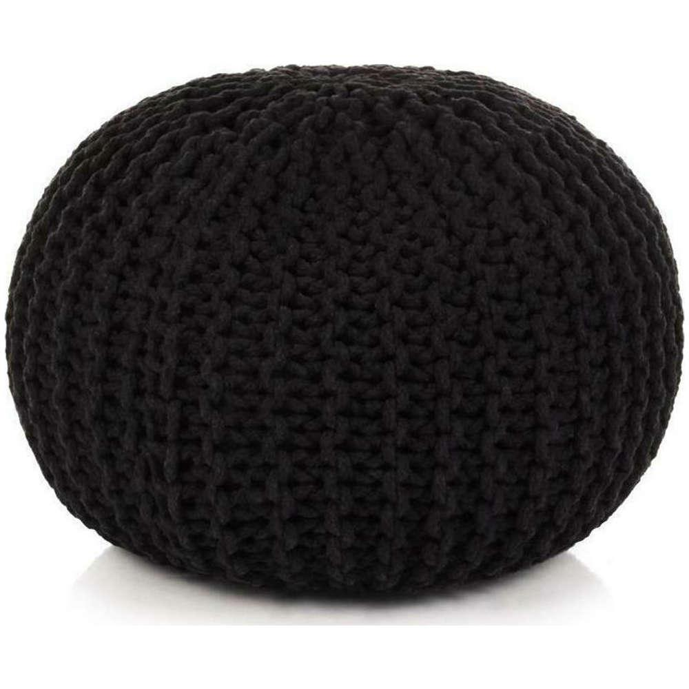 Πουφ Σκαμπό Cotton 05692.003 50x40cm Black