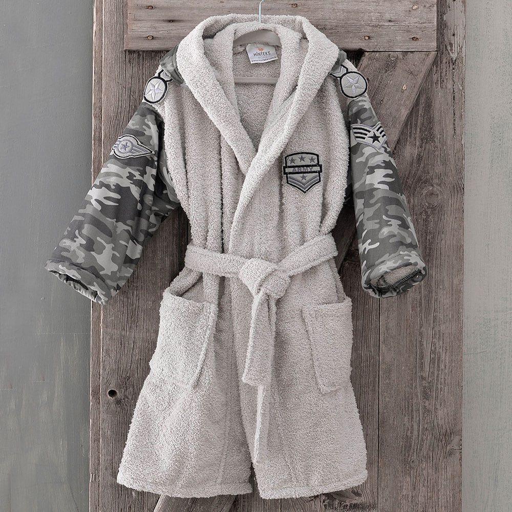 Μπουρνούζι Παιδικό Με Κουκούλα Army Grey Ρυθμός