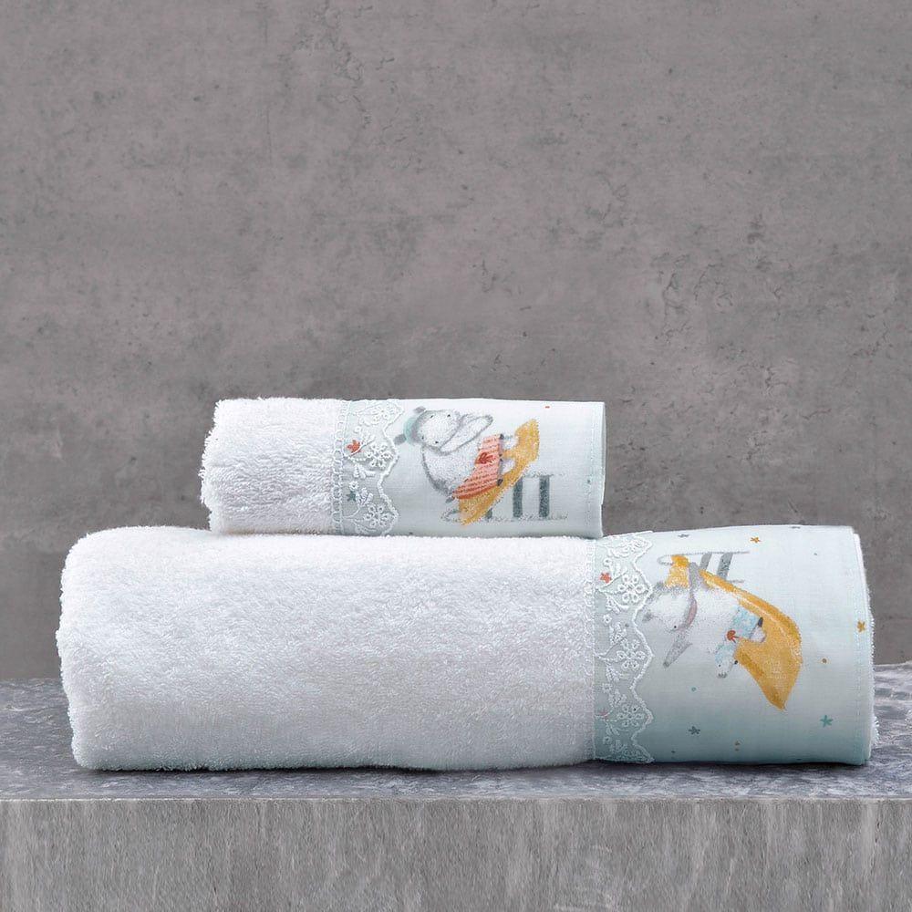 Πετσέτες Παιδικές Σετ 2τμχ Hippo Blue Ρυθμός