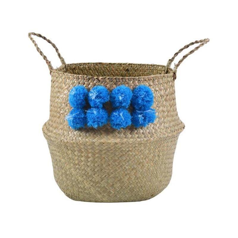Καλάθι Με Pon-Pon 802210 38x33cm Natural-Blue Ankor