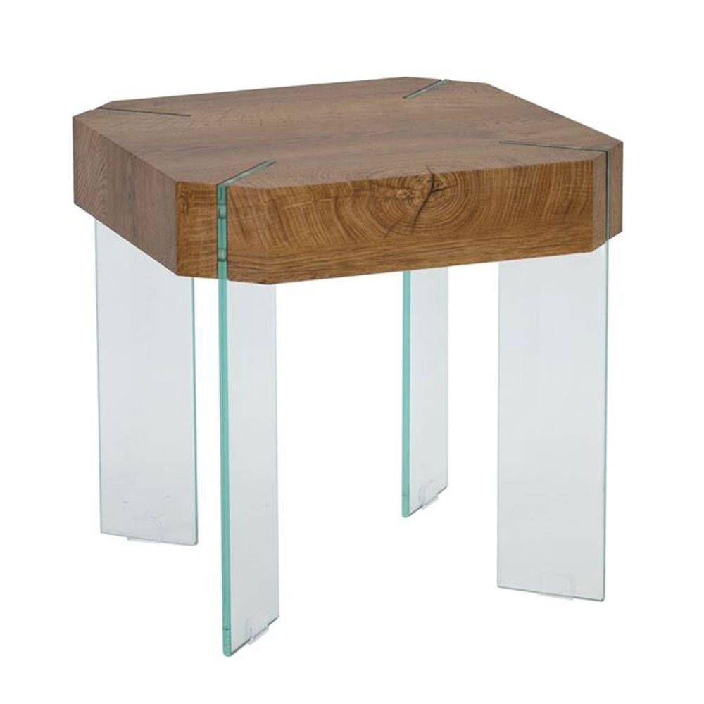 Τραπεζάκι Σαλονιού Yard Ε814 50x50x50cm Wallnut-Glass