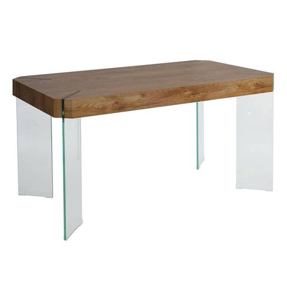 Τραπέζι Yard Ε812 140x80x75cm Wallnut-Glass