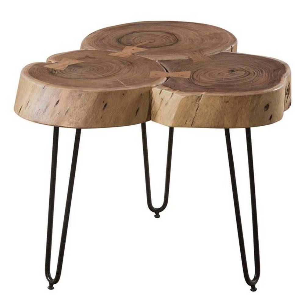 Τραπέζι Σαλονιού Fuego-3 Acacia Natural/Black ΕΑ7057 +/-50x50x42cm